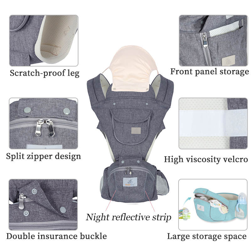 AAG Ergonomic Baby Carrier Sling Backpack Kangaroo Newborn Infant Hipseat Waist Stool Multi-function Baby Carrier Wrap Hip Seat
