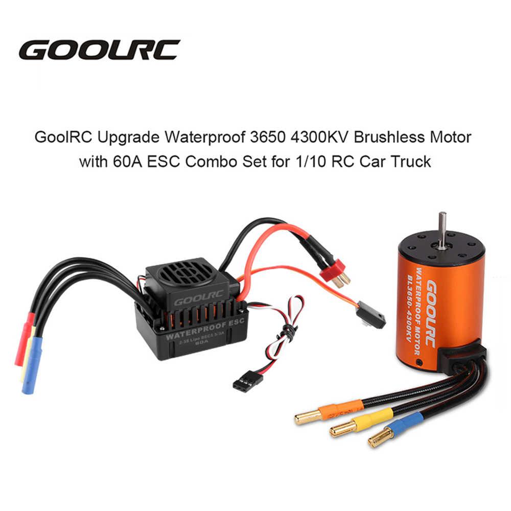 GoolRC mejora a prueba de agua 3650 4300KV Motor sin escobillas con 60A ESC Combo Set para 1/10 RC coche camión