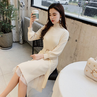 Korean Fashion Autumn Women 2 Piece Set Elegant Long Sleeve Knitted Sweater Dresses + Mesh Skirt Set Chandal Mujer 2 Piezas