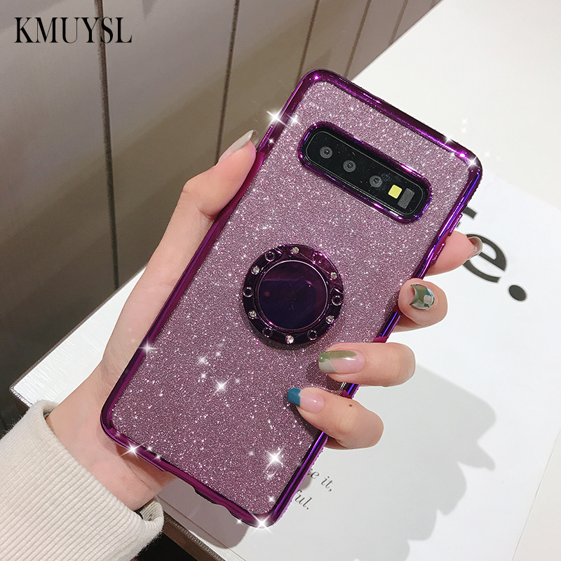 360 Roating Ring Glitter Diamond Case For Samsung <font><b>Galaxy</b></font> <font><b>S10E</b></font> S8 S9 S10Plus Note9 10Pro S7 Edge M10 M20 M30 A30 A40 A50 A70 Case image