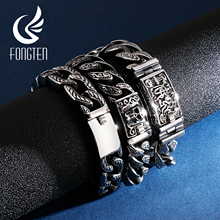 Fongten Budha Cuban Bracelet Men Stainless Steel Retro Link Chain Skull Punk Bracelets For Man Jewelry