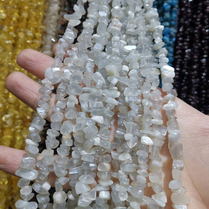 Loose-Beads Moonstone-Chip Jewelry-Making Strand Natural 5-8mm W416 85cm Gems Gravel