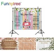 Funnytree düğün zemin altın Glitter parti çiçekler gökkuşağı ahşap araba özel fotoğraf arka plan Photocall fotoğraf stüdyosu