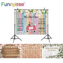 Funnytree photographic backdrops flowers Rainbow colorful wood car Custom background photocall wedding photo background fond