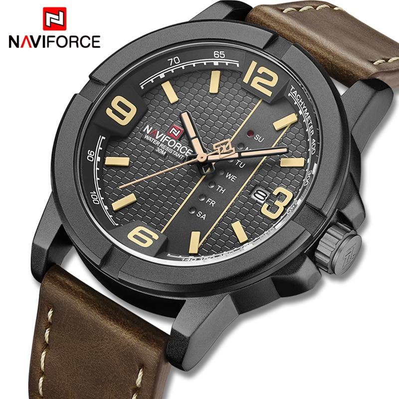 NAVIFORCE Luxury Brand Men Military Sport Watch Men's Quartz Clock Watches Leather Waterproof Wristwatch Date Relogio Masculino