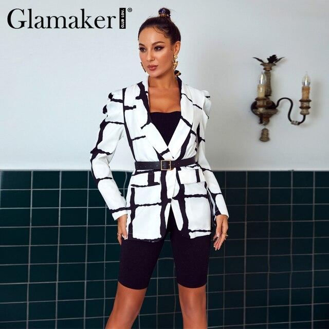 Glamaker Plaid deep v neck sexy blazer women autumn long sleeve white office ladies blazer coat elagent fashion blazer jacket 2
