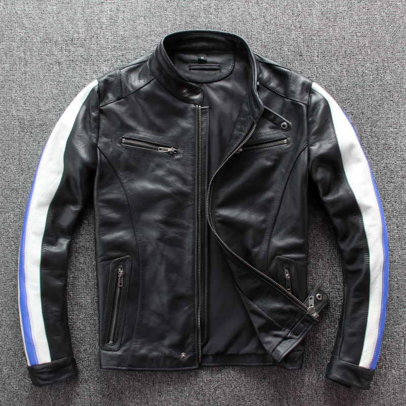 Free Shipping,fashion Slim Motor Biker Style.100% Genuine Leather Jacket.men Cowhide Coat,quality Wholelsaes,outdoor Clothes