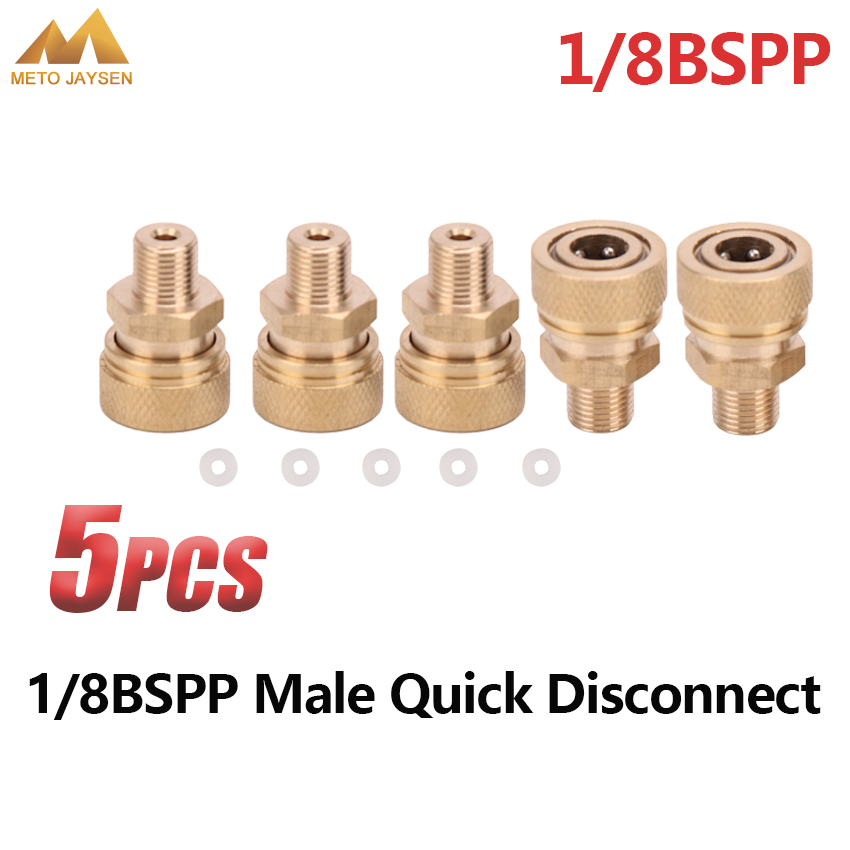 PCP Airforce Paintball 1/8BSPP Male Quick Disconnect 8mm Air Refilling Coupling Connector Copper Socket 5pcs/set