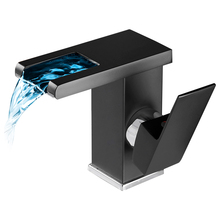 Bathroom Sink Mixer Tap LED Luminous Basin Faucet Copper Waterfall Water Hot and Cold Temperature Control Discoloration