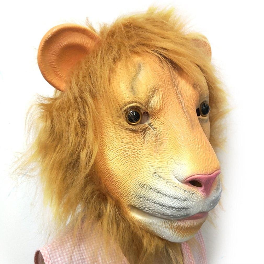 Halloween Lion Animal Head Latex Mask Headgear Role Play Costume Christmas Halloween Club Festival Party Props Decoration