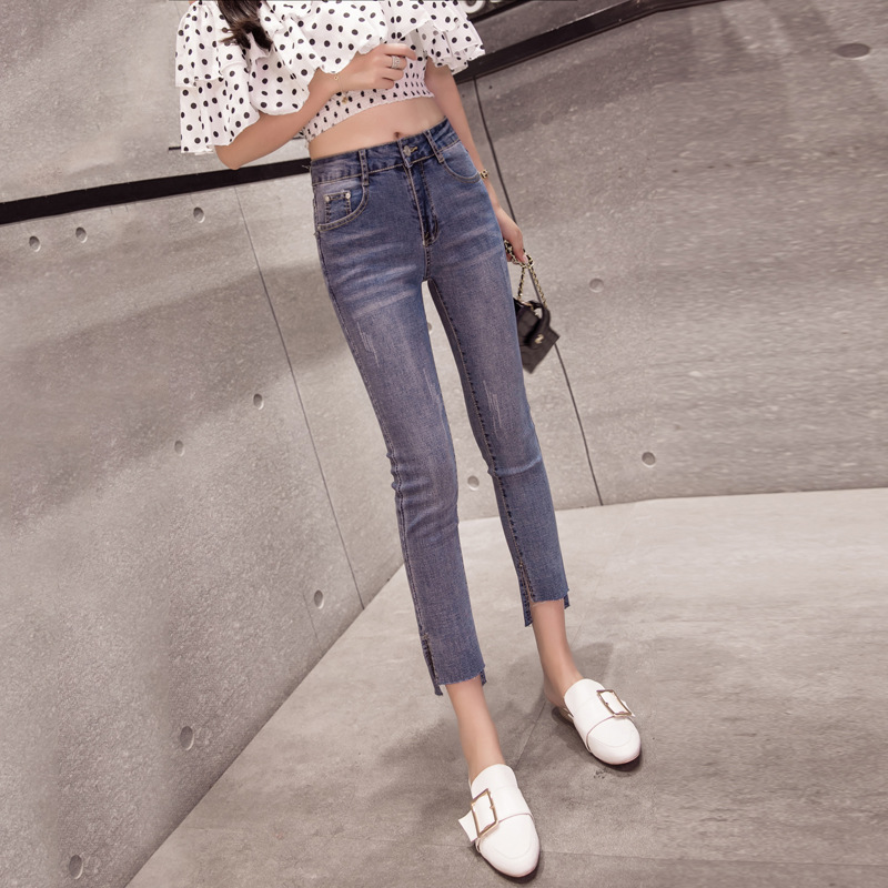 Photo Shoot Slit Jeans Capri Pants Women's 2019 Spring New Style Korean-style Slim Fit Elasticity Skinny Pants