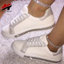 NAN JIU MOUNTAIN Rhinestone Women Canvas Shoes Small White