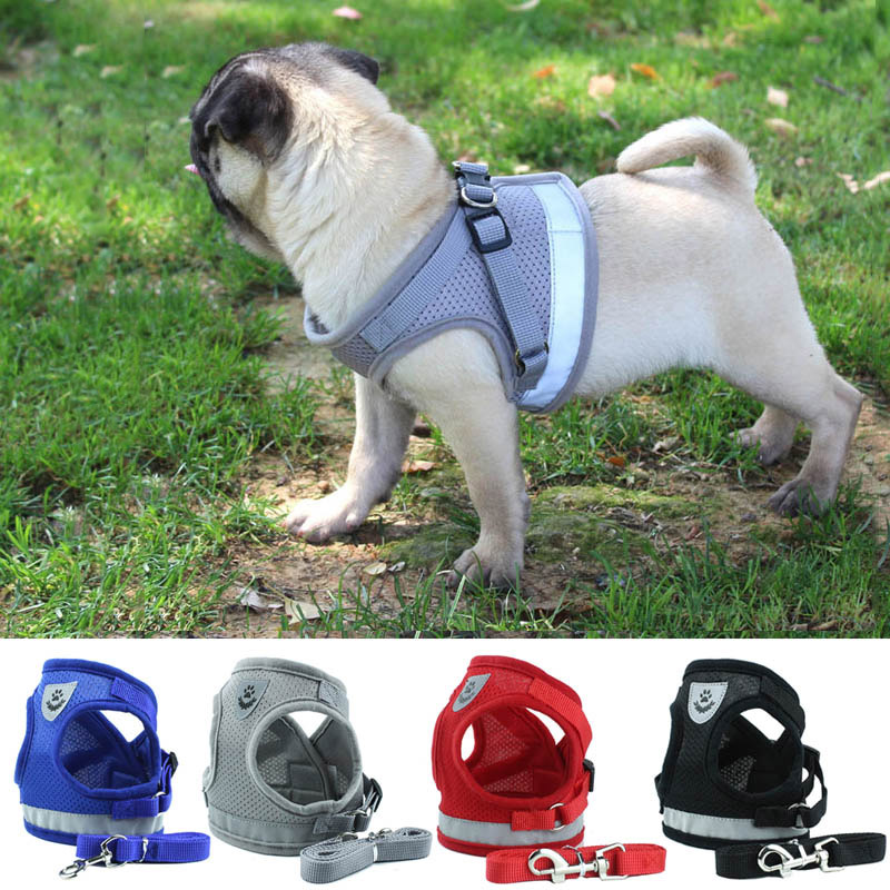 Cat Dog Harness Adjustable Reflective Vest Walking Lead Leash For Puppy Dogs Collar Polyester Mesh Harness for Small Medium Dogs