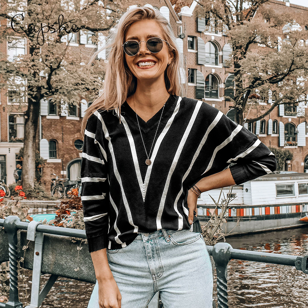 CUPSHE Black White Striped V Neck <font><b>3/4</b></font> <font><b>Sleeve</b></font> <font><b>Sweater</b></font> Woman 2020 Autumn Winter Casual Loose Female Pullovers Top Clothing image