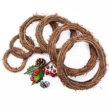 Ротанговая лоза кольцо гирлянды в виде искусственных цветов сушенный цветочный каркас для домашнего рождественского декора вечерние Деко...