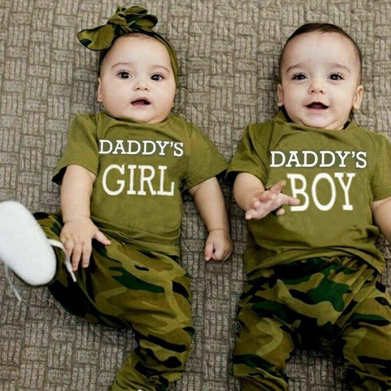 UK Newborn Infant Baby Boy Tops Romper Camo Pants Trousers 3PCS Outfits Clothes