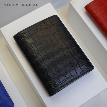 Hiram Beron Custom Name FREE Leather Passport Case Leather for 2 passports Italian leather crocodile pattern luxury dropship