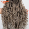FASHIONIDOL tutku büküm tığ saç Afro Kinky kıvırcık 26 inç uzun gri örgü saç peruk tığ örgüler sentetik saç uzatma