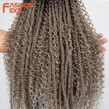 FASHIONIDOL pasión giro del cabello rizado Afro rizado 26 pulgadas de largo pelo gris trenzado trenza sintética a Crochet extensión del pelo