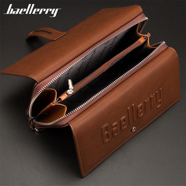 Baellerry Wallet Male Clutch Wallets Large Phone Bag Unique Design Men Purse Turnover Handbag Multifunction Card Holder Wallet 1