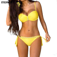 INGAGA New 2018 Sexy Bikini Set Push Up Swimwear Women Strap Swimsuit Solid Bathing Suits Summer Beach Bathing Suits XXXL(China)