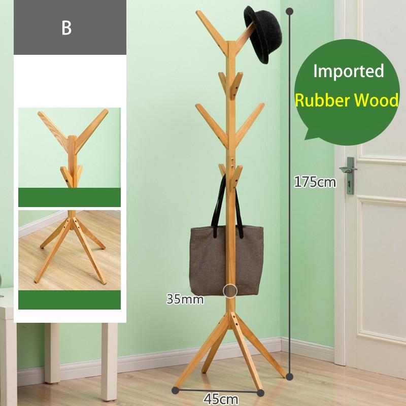 Image 5 - Solid Wood Hanger Floor Standing Coat Rack Creative Home Furniture Clothes Hanging Storage Rack Wood Hanger Bedroom Drying RackCoat Racks   - AliExpress