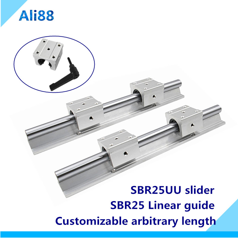 2pcs <font><b>SBR25</b></font> 25mm <font><b>linear</b></font> <font><b>rail</b></font> any length support round guide <font><b>rail</b></font> + 4pcs SBR25UU <font><b>linear</b></font> bearing slide block for cnc image