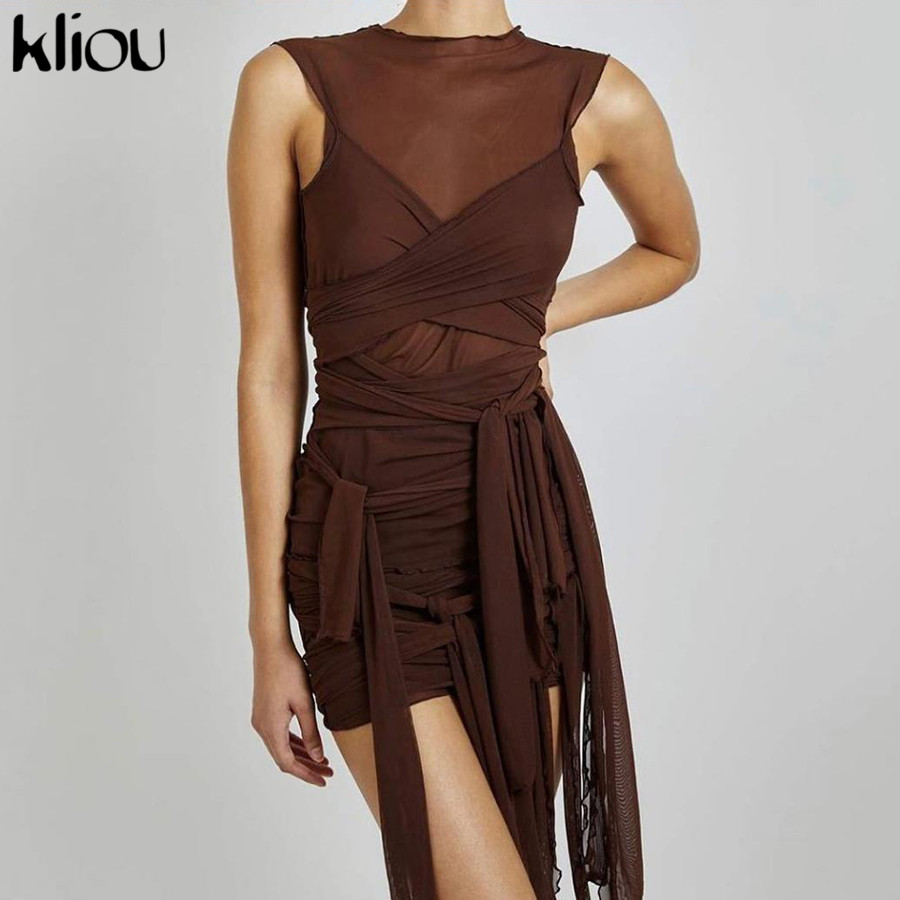 Kliou Ribbons Mesh See Through Bodycon Party Dresses Women Sexy Clubwear Mini Dress Solid Sleeveless Basic Female платье Outfits