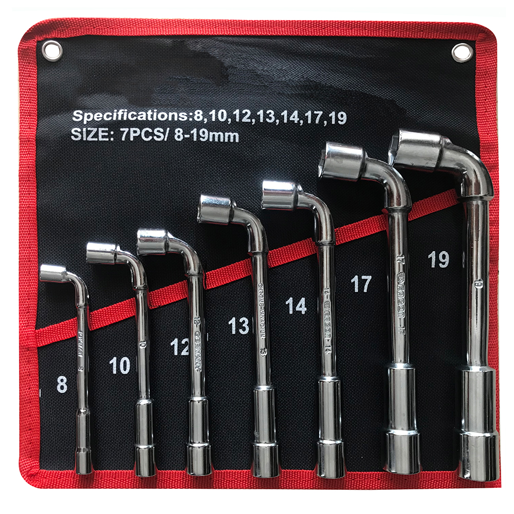 Car Repair Wrenchs L Type Socket Wrench Set 7/12PCS High Carbon Steel L Spanner Keys with Pouch Pack Pipe Perforation Elbow