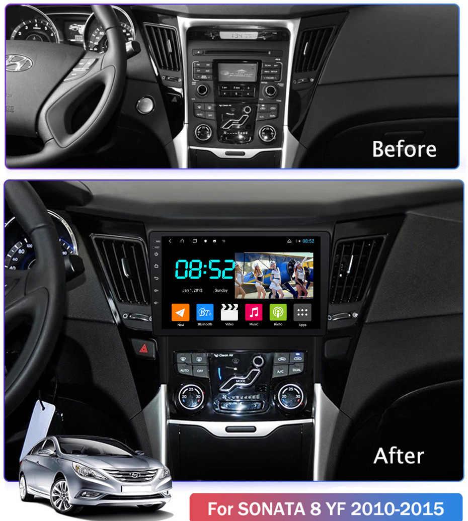 أندرويد 8.1 مشغل أسطوانات للسيارة 1din الوسائط المتعددة نظام نافي لشركة هيونداي سوناتا 8 YF 2010-2015 سيارة لتحديد المواقع والملاحة رئيس وحدة BT SWC واي فاي