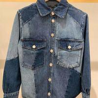 Chaqueta vaquera azul para mujer, chaqueta de marca francesa con bolsillos de almazuela, camisa holgada de manga larga con una hilera de botones