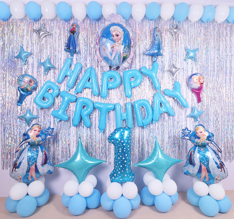 Ice Snow Queen Elsa Column Standing Balloon Princess Girl Foil Balloons Happy Birthday Party Decorations Kids Gifts Toys Favor