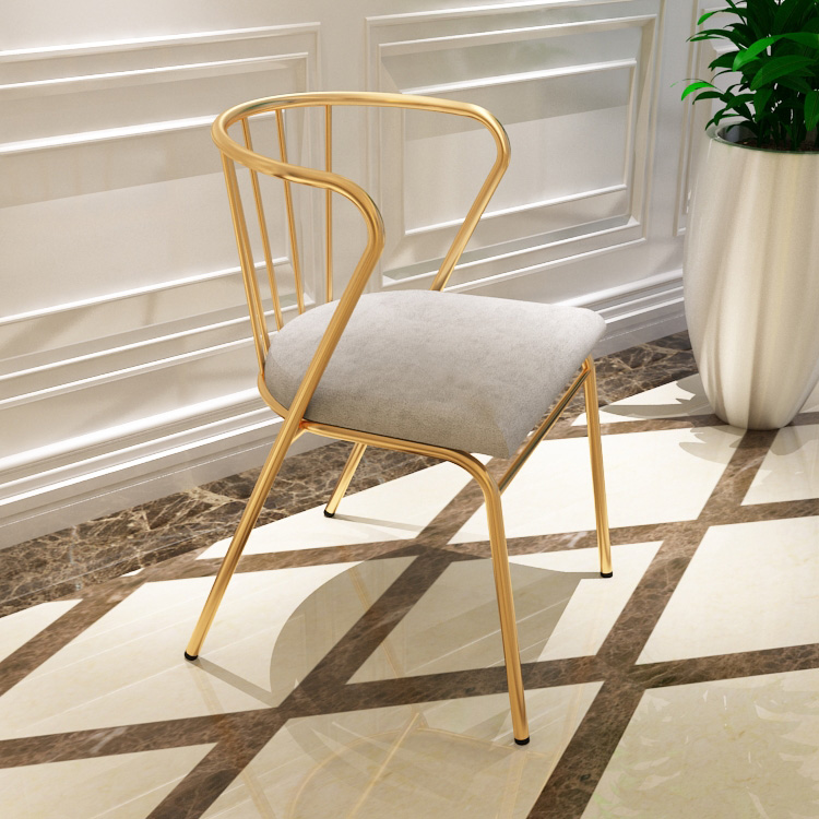 Iron Art Chair  Modern Simple Armor Chair Leisure Coffee Backrest Chair Metal Gold Milk Tea Shop Living Room Chairs Furniture