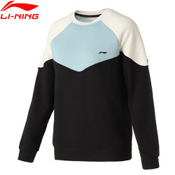 Li-Ning Women Training Po Knit Top Loose 78%Cotton 22%Polyester LiNing Sweatshirts li ning Color-block Sweaters AWDQ448