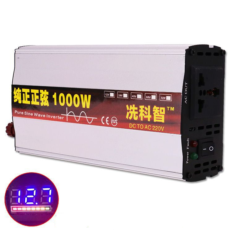 Inverter 12V/24V/48V 220V 600W/1000W Voltage transformer Pure Sine Wave Power Inverter DC12V to AC 220V Converter+LED Display