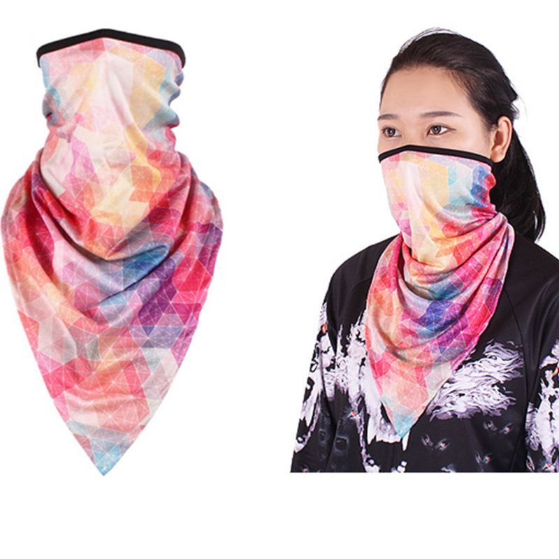 Unisex Neck Gaiter Face Triangle Scarf Sunscreen Ice Silk Bandana Mask Rainbow Graffiti Dustproof Motorcycle Balaclava