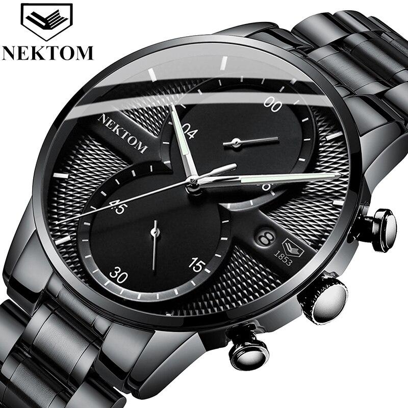 NEKTOM Men Watch Sport Watch Mens Watches Top Brand Luxury Waterproof Full Steel Quartz Gold Clock Men Relogio Masculino