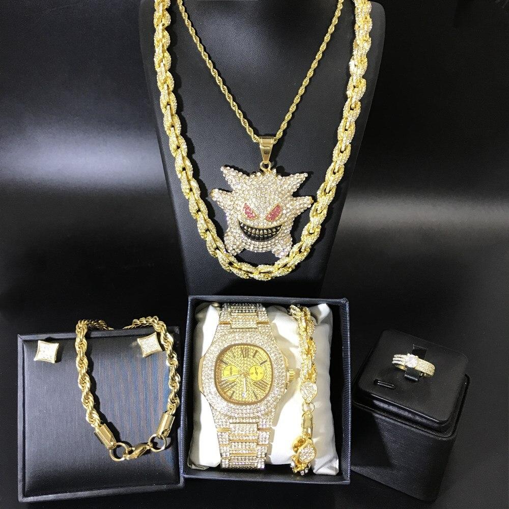 Hommes de luxe couleur or montre & collier & bracelet & bague & boucles d'oreilles ensemble Combo Ice Out cristal cubain Miami collier Hip Hop pour hommes