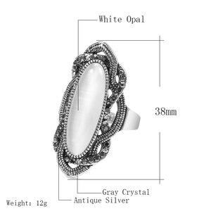 Kinel, высшее качество, богемное кольцо с белым опалом, большое овальное серебряное покрытие, мозаика, ААА серое Кристальное кольцо для женщин, винтажное ювелирное изделие