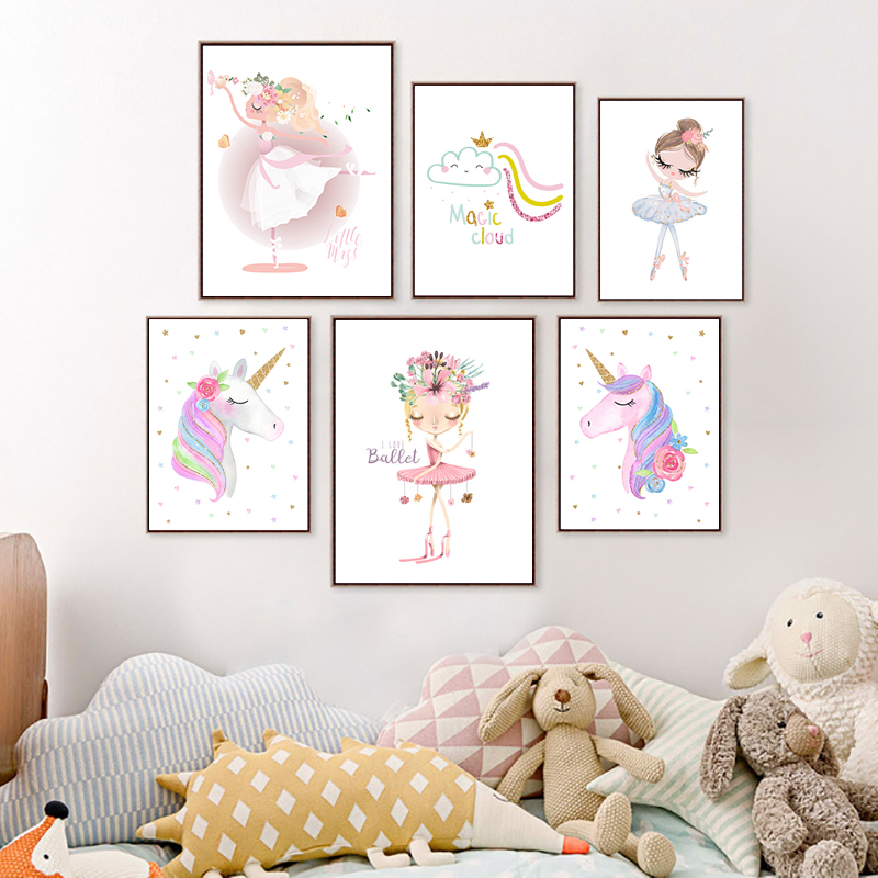 Cartoon Painting Nursery Poster Nordic Princess Canvas Ballet Girl Unicorn Baby Room Wall Art Unframed