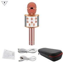 Micrófono inalámbrico de mano con Bluetooth para Karaoke, WS-858, reproductor de KTV con USB, Altavoz Bluetooth, micrófono para grabar música, WS858