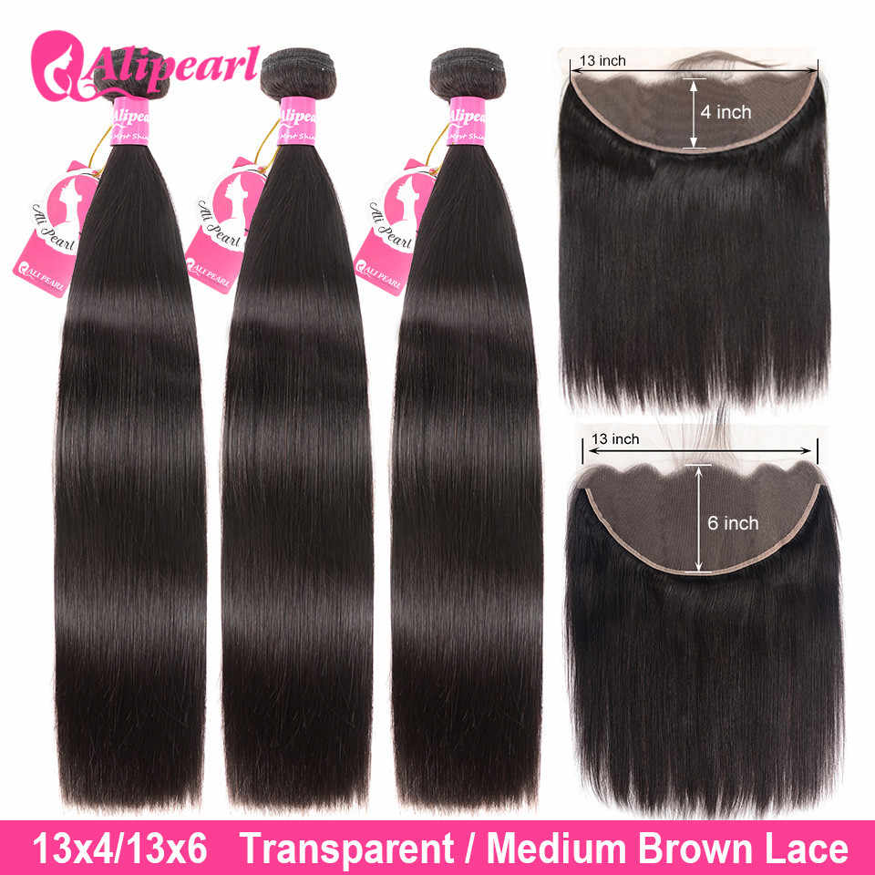 Brazilian Straight Human Hair Bundles With Transparent Lace Frontal PrePlucked 13x6 Lace Frontal With Bundles Remy AliPearl Hair