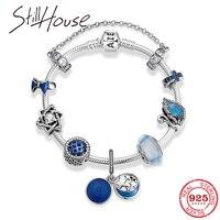 925 Sterling Silver Blue Starry sky enamel beads Charms women pendant bracelet Chain Bangles Women accessories Fashion jewelry