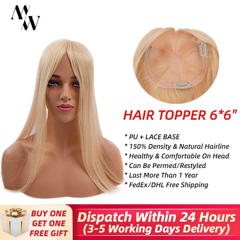 """Mw Kant + Pu Topper Pruik Virgin Remy Menselijk Haar Voor Vrouwen 6*6 """"Handtied Blond Clip Haar pruiken 150% Dichtheid Natuurlijke Haarlijn"""