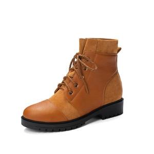 Image 3 - Ymechic 2019 moda cruz gravata chunky salto baixo mulher botas preto amarelo senhoras deslizamento em sapatos punk gótico tornozelo botas de combate inverno