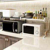 Telescopic Microwave Rack Kitchen Shelf Organizer Metal Microwave Oven Shelf Space saving Kitchen Rack Stand for Home Storage