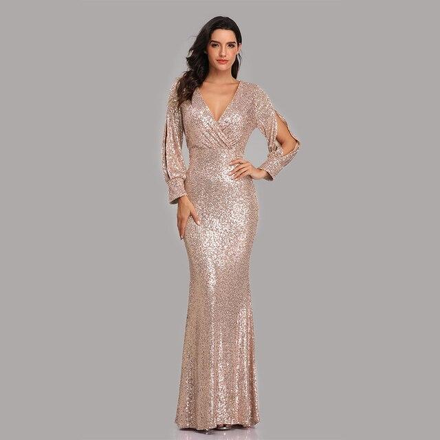 فستان سهرة جديد مثير بحورية البحر ذو رقبة على شكل V فستان رسمي طويل للحفلات الراقصة كامل الترتر طويل الأكمام 5