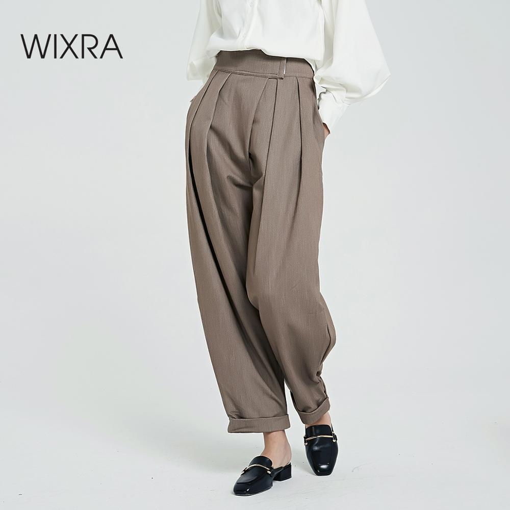 Wixra Solid Women's Pants Solid Loose Casual Pants Stylish Ladies Pockets Thick Long Trousers Women's Clothing 2019 Autumn