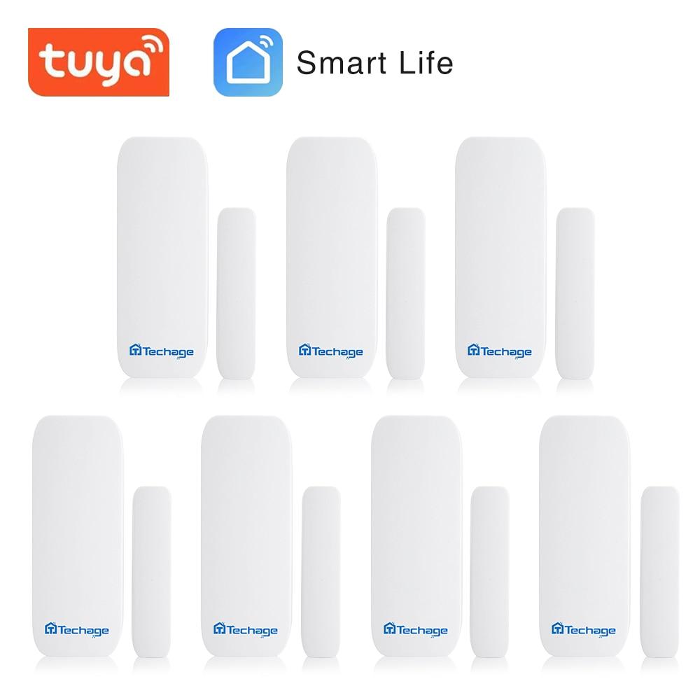 Techage  433MHz Wireless Door Window Magnet Sensor Detector For  Home Wireless Alarm System Include The Battery