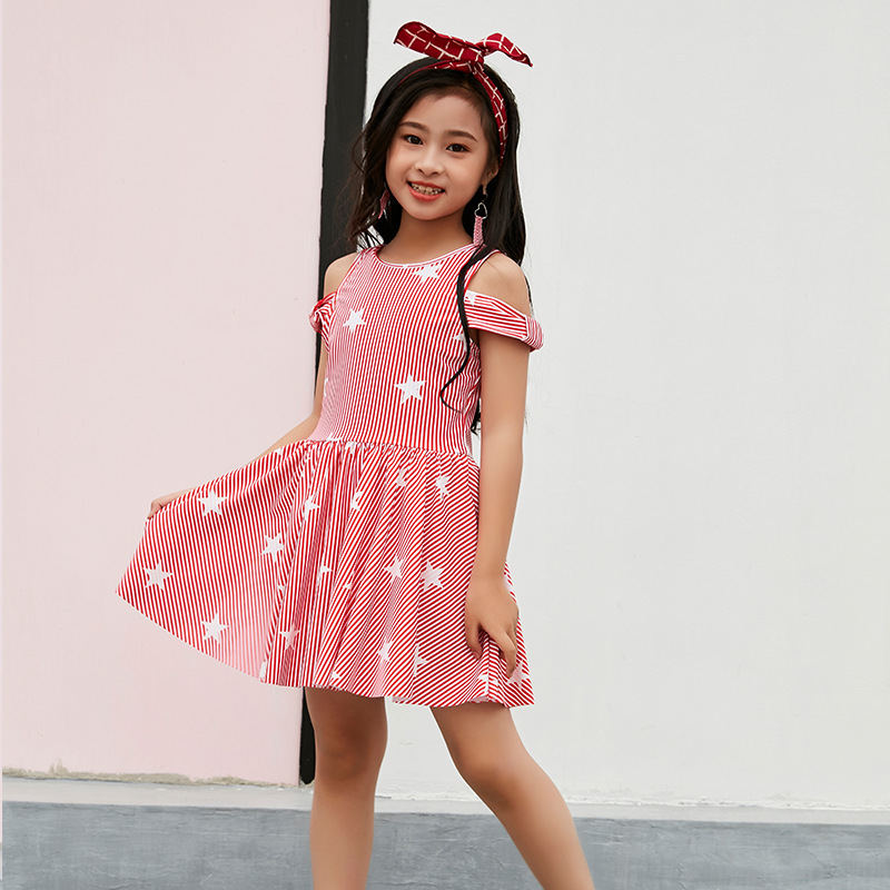 Chang Ning KID'S Swimwear Girls One-piece Princess Skirt Exposed Shoulder Tour Bathing Suit Big Boy GIRL'S Cute Baby Swimming Su